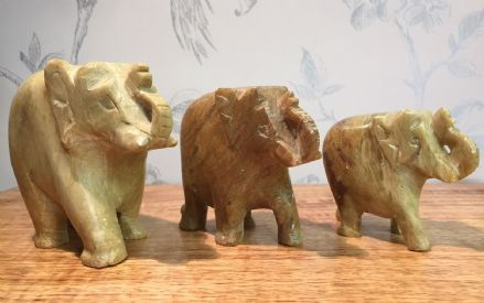 Indian Solid Soapstone Hand Carved Walking Elephants ~ Set of 3